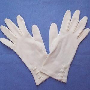60s VTG White Nylon MOD Wrist Gloves SZ 6/7